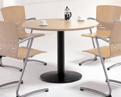 Small Round Meeting Table with Pedestal Base